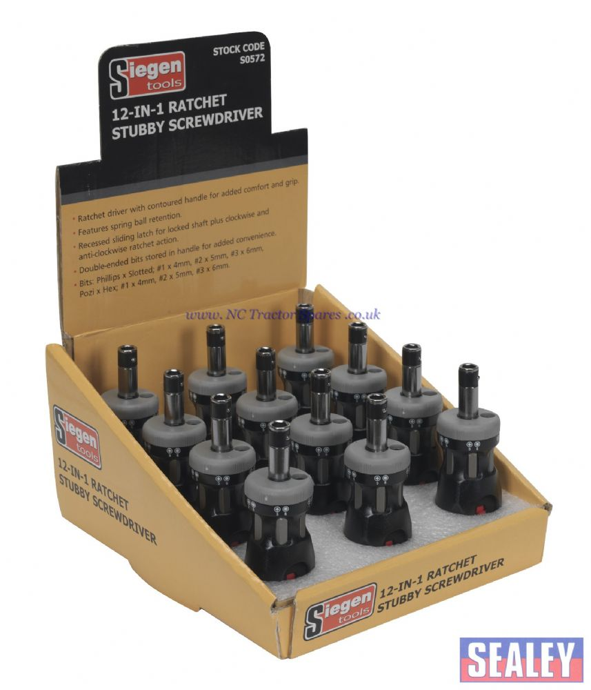Ratchet Stubby Screwdriver Set 12-in-1 Display Box of 12
